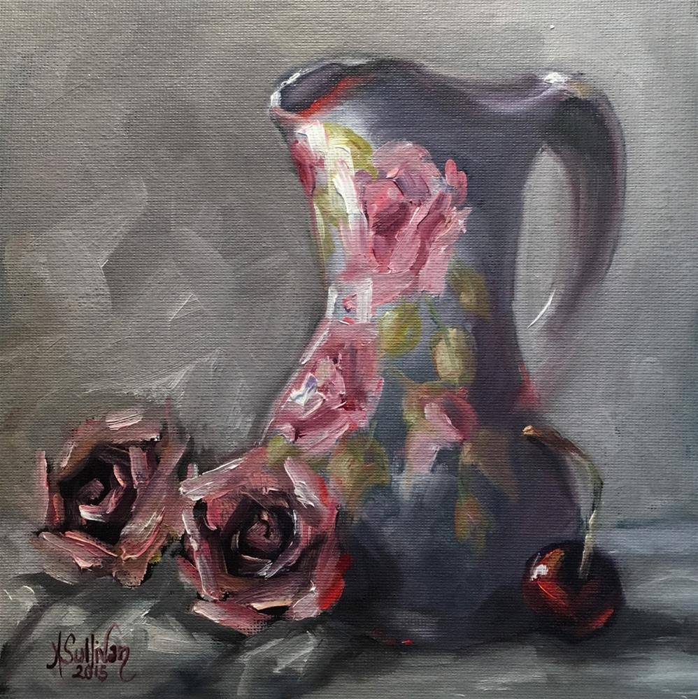 """Everything Is Coming Up Roses still life floral painting by Alabama Artist Angela Sullivan"" original fine art by Angela Sullivan"