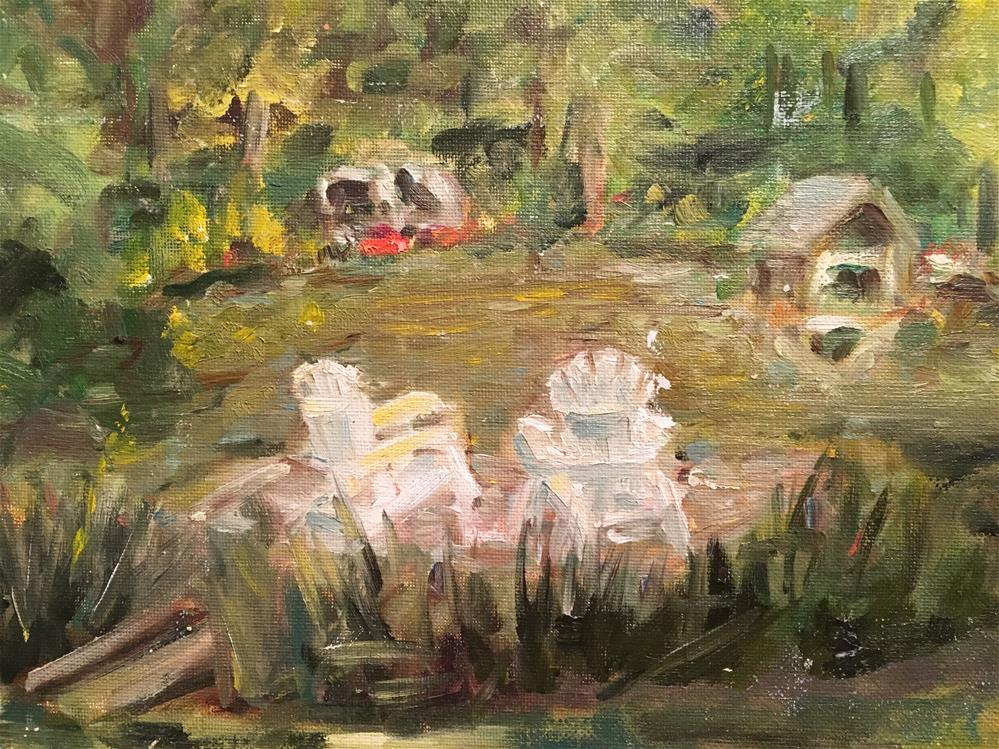 """Pond at Brandon Hall, Natchez, MS"" original fine art by Susan Elizabeth Jones"