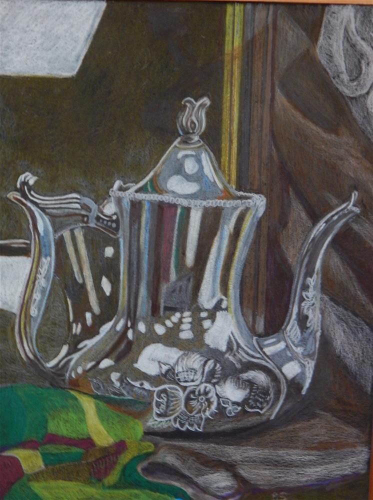 """The Silver Coffee Pot"" original fine art by Elaine Shortall"