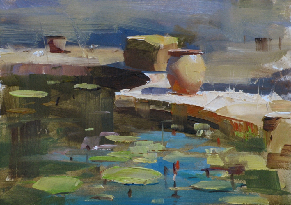 """Hill Country Water Garden"" original fine art by Qiang Huang"
