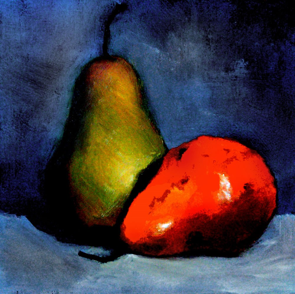 """Two Pears"" original fine art by Bob Kimball"
