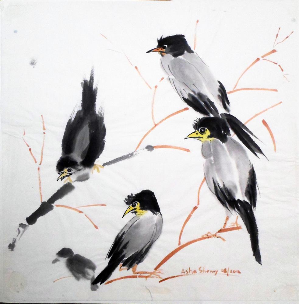 """The Magpie Conference"" original fine art by Asha Shenoy S"