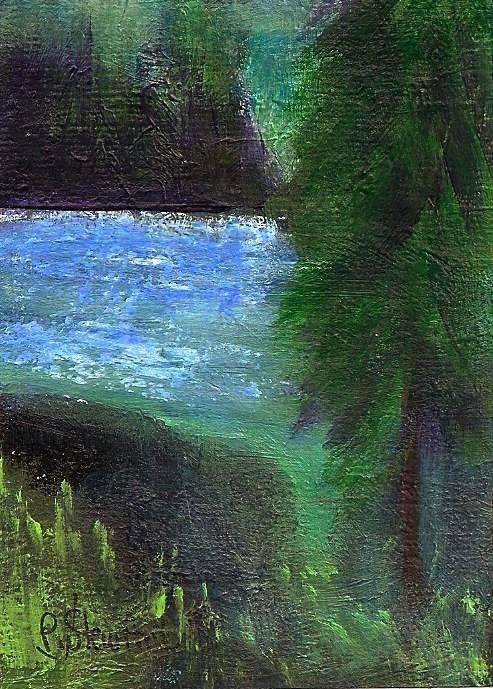 """""""ACEO Misty Morning Mountain Lake Landscape SFA Original Pine Trees Penny StewArt"""" original fine art by Penny Lee StewArt"""