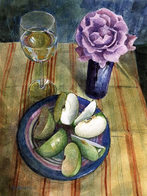 """Watercolor: Sour Green Apples (& an Art Festival report)"" original fine art by Belinda Del Pesco"