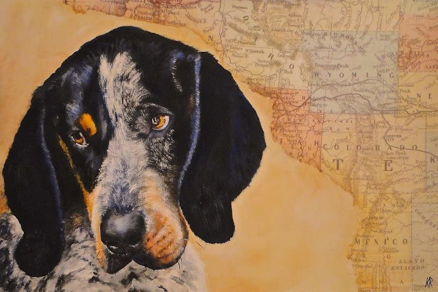"""American Bluetick Coonhound"" original fine art by Karen Robinson"