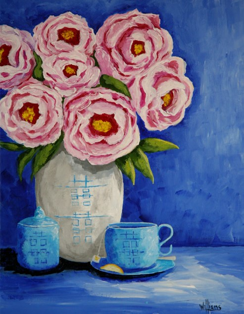 """Roses and Tea"" original fine art by Sunny Williams"