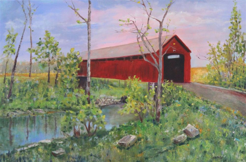 """Spring Morning, Stonelick Covered Bridge"" original fine art by Linda McCoy"