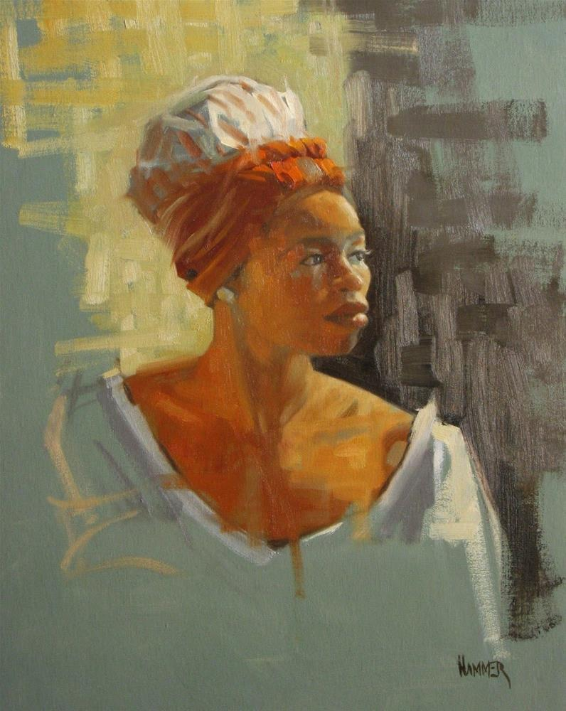 """two tone head wrap  11 x 14  oil"" original fine art by Claudia Hammer"