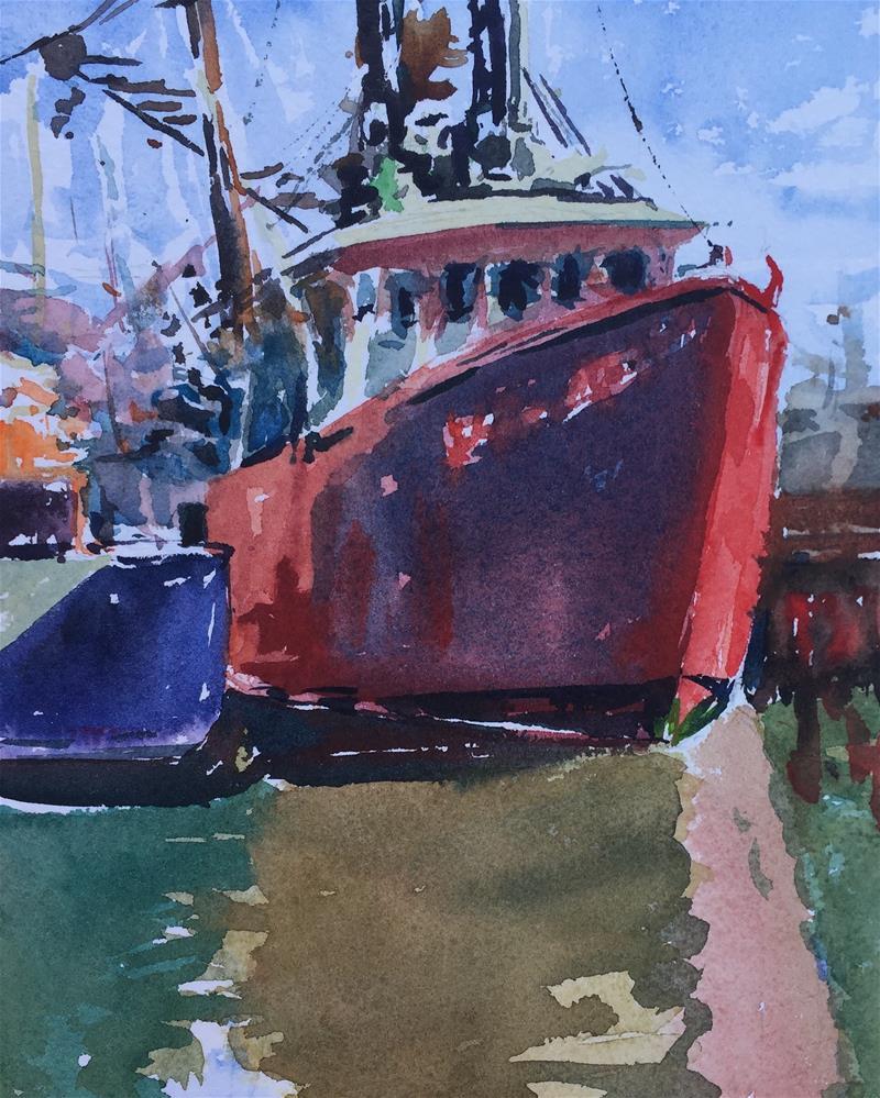 """Fishing Boats, Barnegat Light NJ"" original fine art by Laurie Maher"