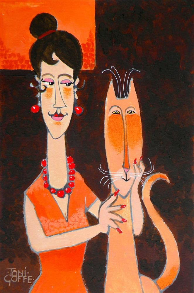 """Modigliani's Cat"" original fine art by Toni Goffe"