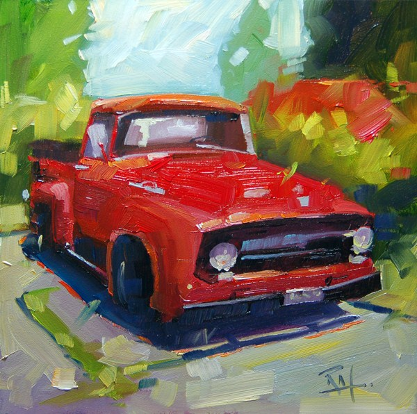 """The great red Truck"" original fine art by Robin J Mitchell"