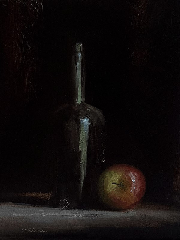 """Bottle with Apple"" original fine art by Neil Carroll"