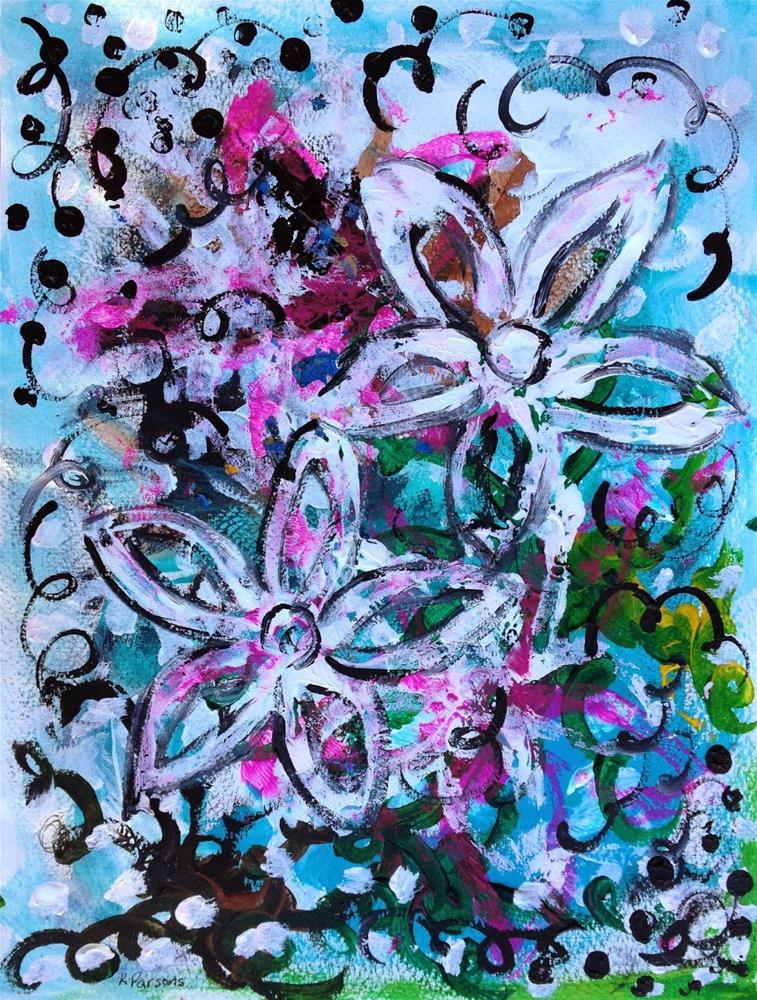 """Whimsy Flower Bliss"" original fine art by Kali Parsons"