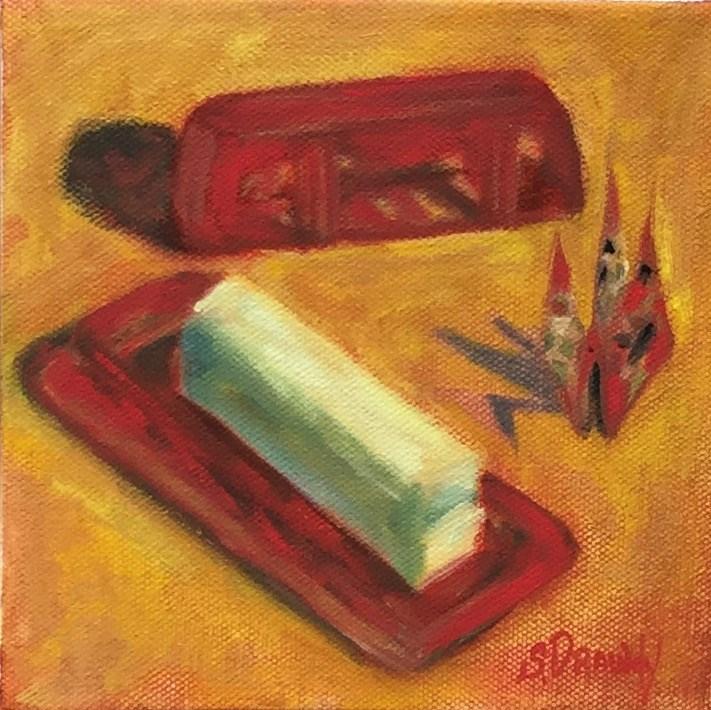 """Royal Ruby Depression Glass Butter Dish with Origami Crane"" original fine art by Stephanie Drawdy"