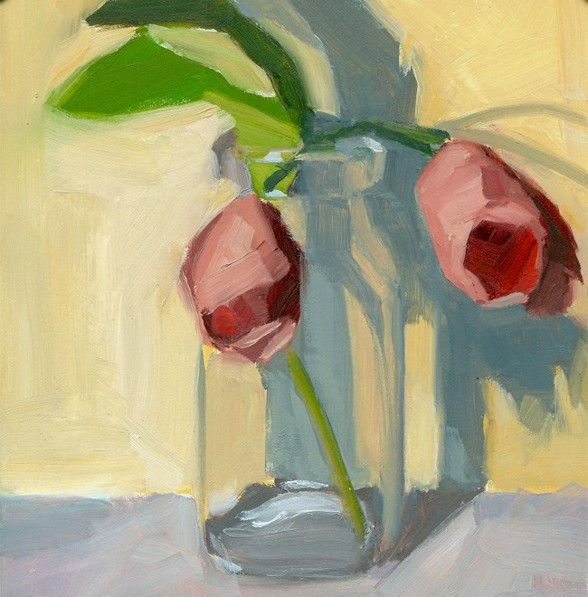 """Tulips in Glass Jar"" original fine art by Robin Rosenthal"