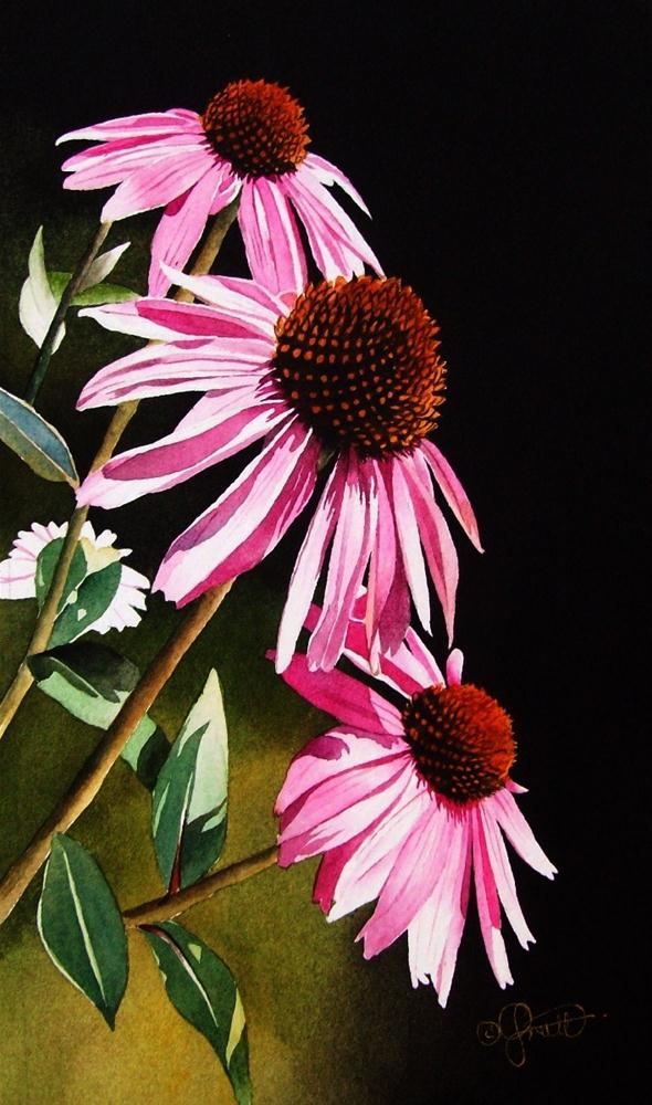"""Three Coneflowers"" original fine art by Jacqueline Gnott, whs"