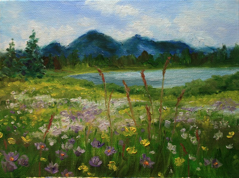 """Summer Wildflowers"" original fine art by Jean Nelson"