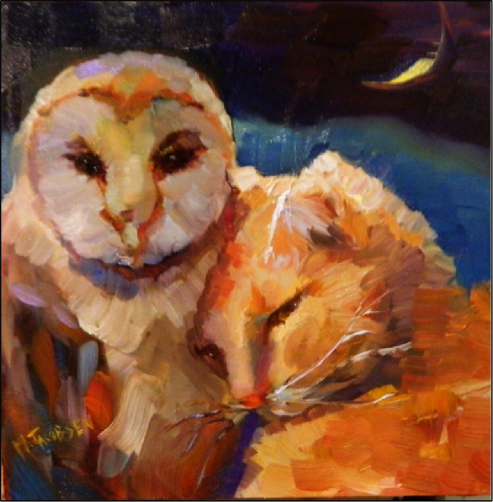 """The Owl and the Pussycat, 8x8, original oil on museum -quality gessoboard-nursery rhymes, painting"" original fine art by Maryanne Jacobsen"