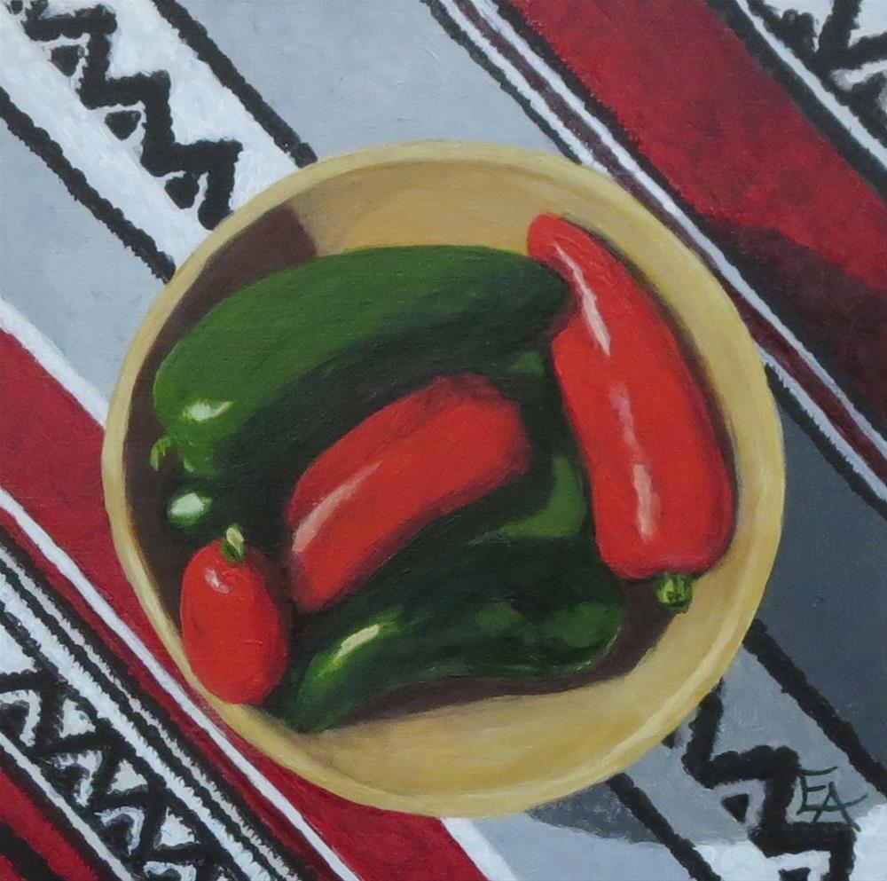 """""""Hot Peppers in Hot Sun"""" original fine art by Elizabeth Elgin"""