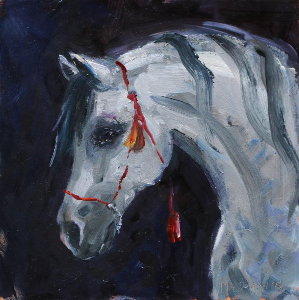 """Horse with the red halter"" original fine art by Miranda Dalessi"