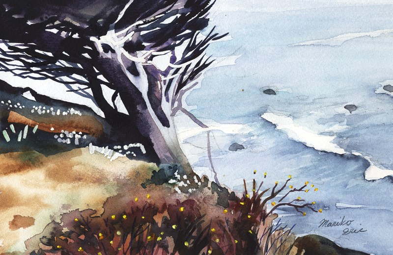 """A Tree by Ocean"" original fine art by Mariko Irie"