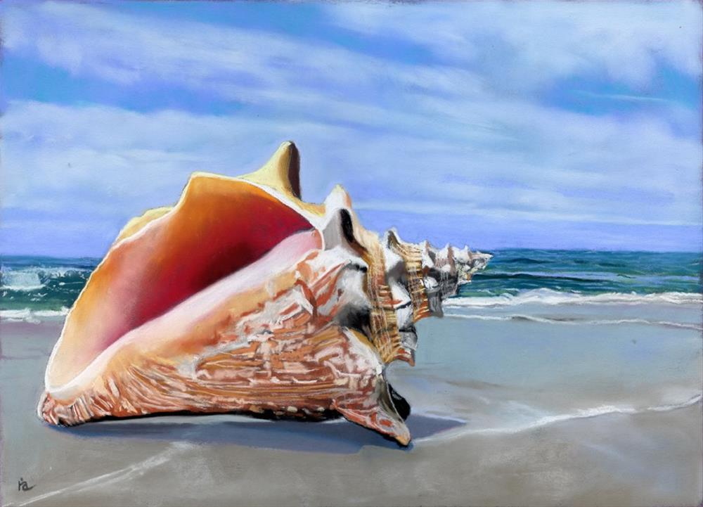 """Conch shell on the beach"" original fine art by Ria Hills"
