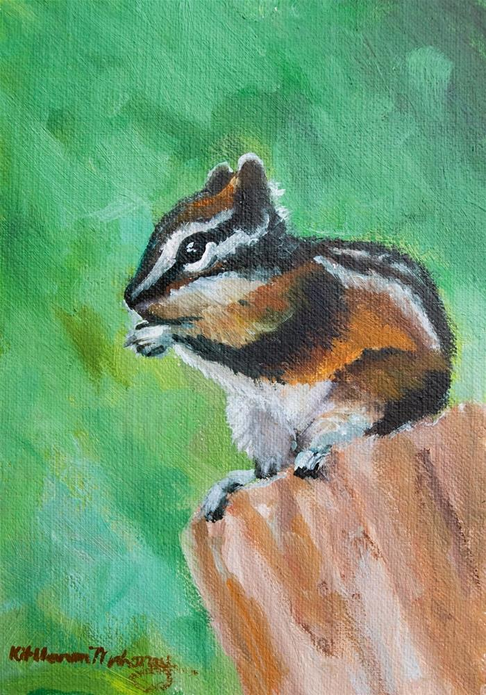 """KMD2995 Quick Stop by Colorado contemporary artist Kit Hevron Mahoney (5x7 oil chipmunk, animal)"" original fine art by Kit Hevron Mahoney"