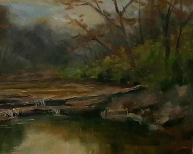 """Creek in December"" original fine art by Tammie Dickerson"