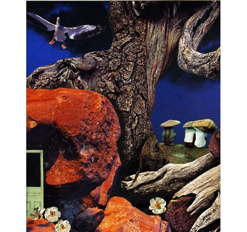 """""""Mushroom People original collage art surreal fantasy by Linda Apple"""" original fine art by Linda Apple"""