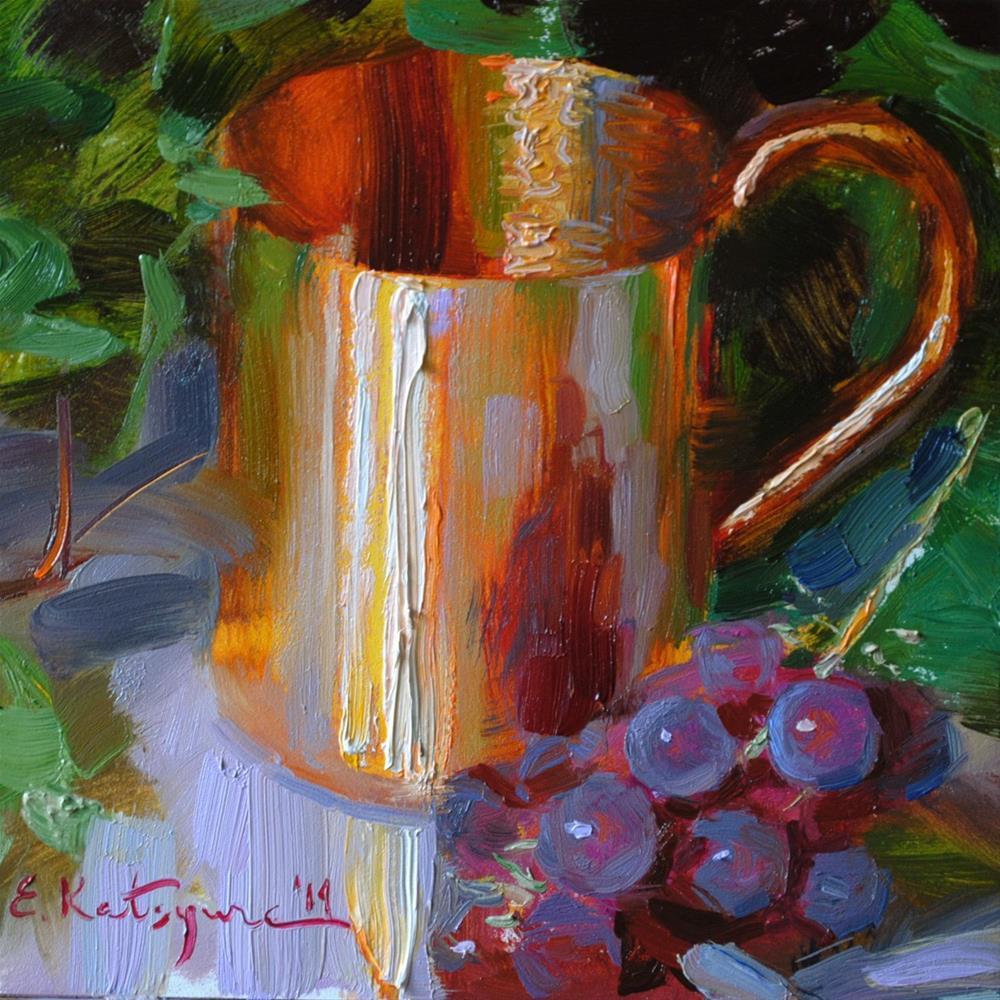 """Copper and Grapes"" original fine art by Elena Katsyura"