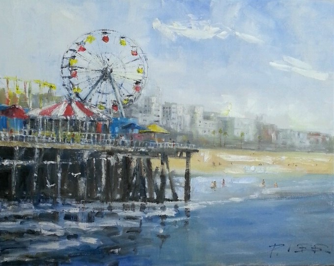 """Santa Monica Pier"" original fine art by Peter Lee"