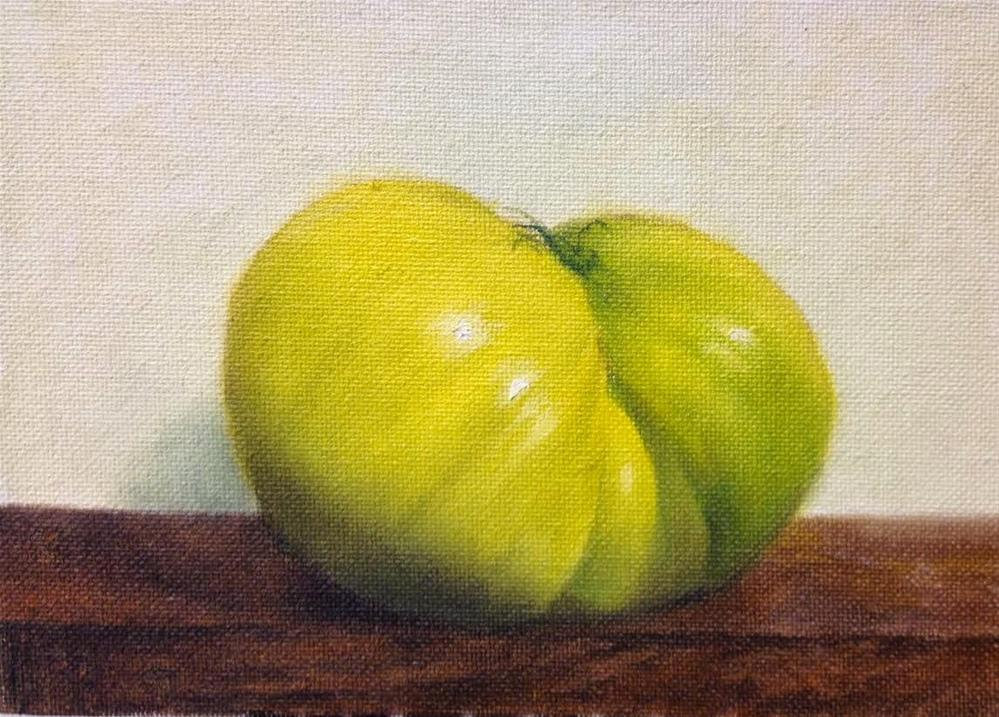 """Green Heirloom Tomato"" original fine art by Jonathan Aller"