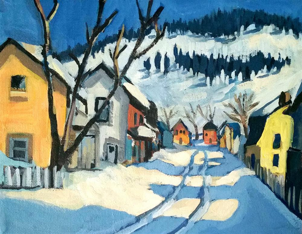 """Village Street Baie- Saint Paul after Gagnon"" original fine art by Liz Maynes"