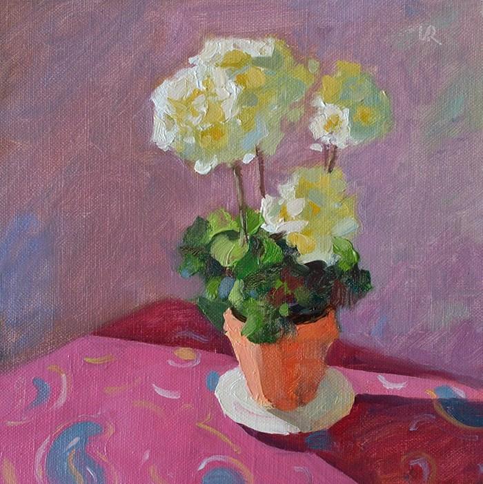 """Geranium in Sunlight - April 21, 2015"" original fine art by Lena  Rivo"