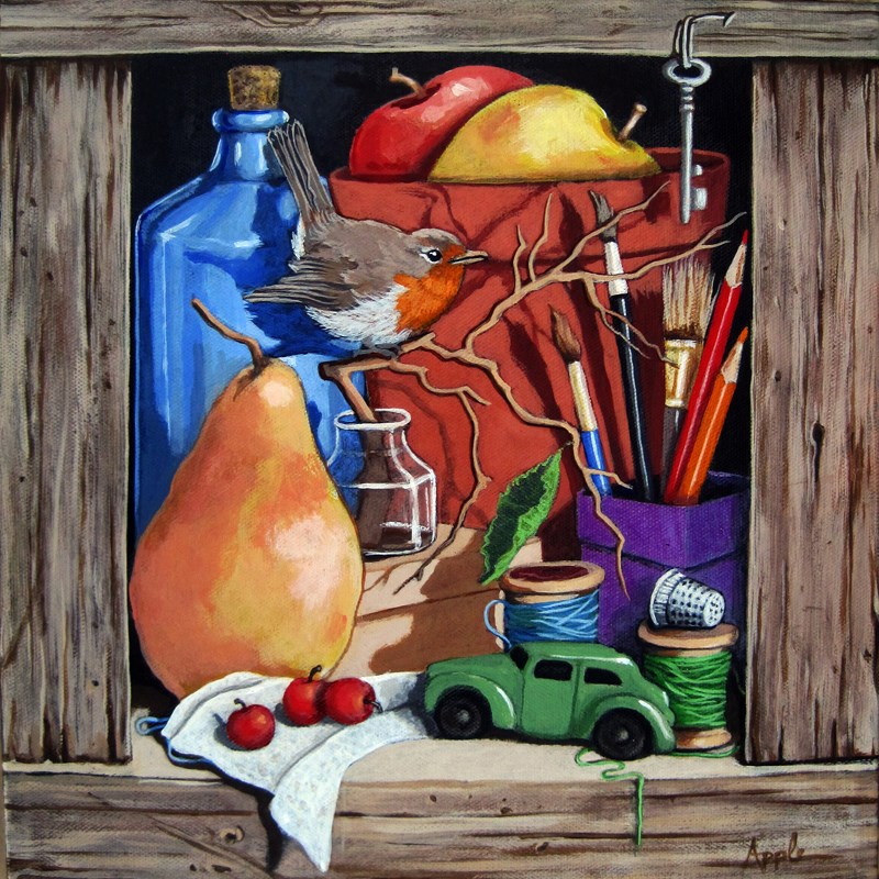 """Old Blue Bottle still life w/ bird realistic painting by Linda Apple"" original fine art by Linda Apple"