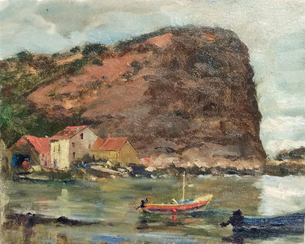 """Across the Bay...Staithes"" original fine art by John Shave"