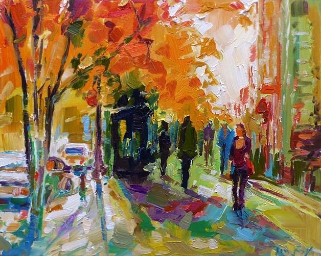 """""""Herbstallee"""" original fine art by Jurij Frey"""