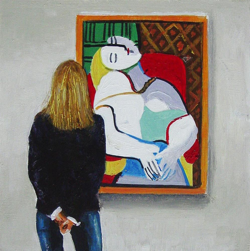 """Le Rêve- Painting Of A Woman Enjoying Painting By Picasso"" original fine art by Gerard Boersma"