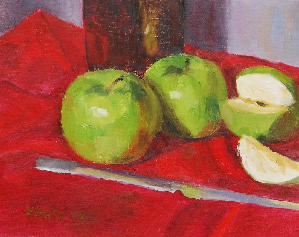"""Green on Red"" original fine art by Ellen Hurley"