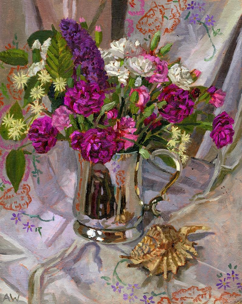 """Carnations and Wildflowers in Tankard"" original fine art by Angie Wood"