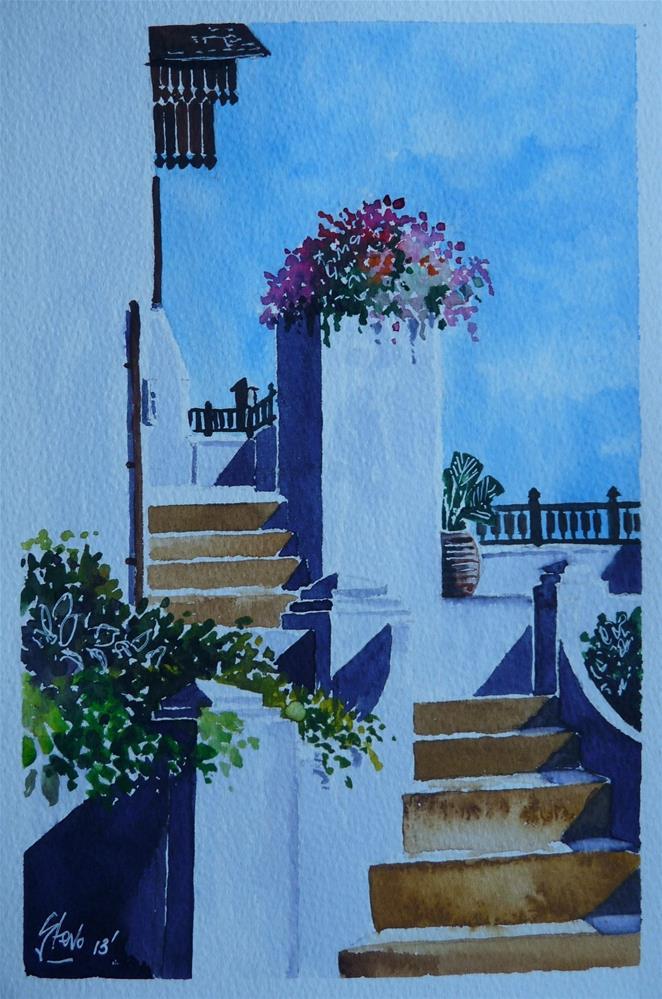 """""""Steps to a Villa"""" original fine art by Martin Stephenson"""