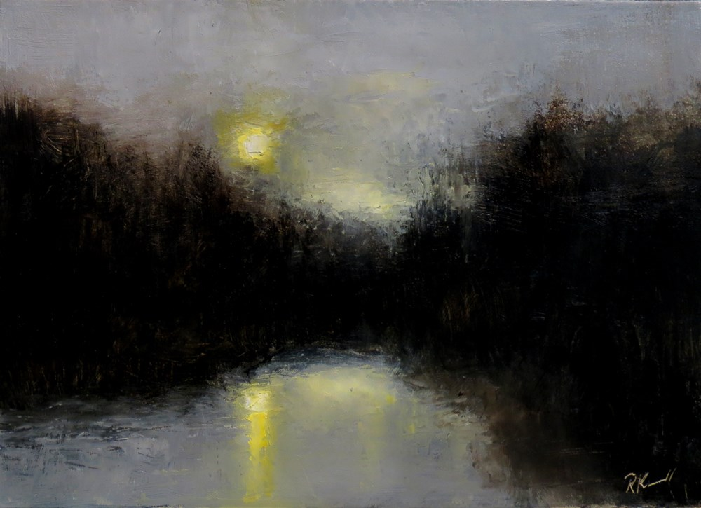 """Twilight on the River"" original fine art by Bob Kimball"