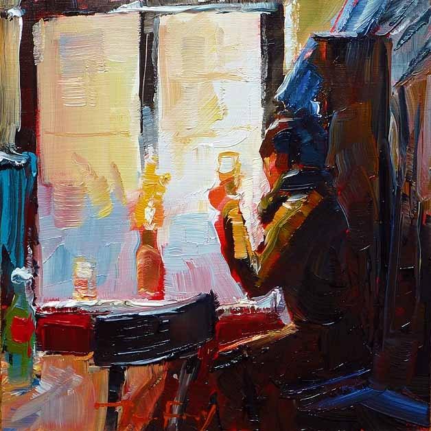 """""""Ein Glas Bier, Heidelberg"""" original fine art by Jurij Frey"""