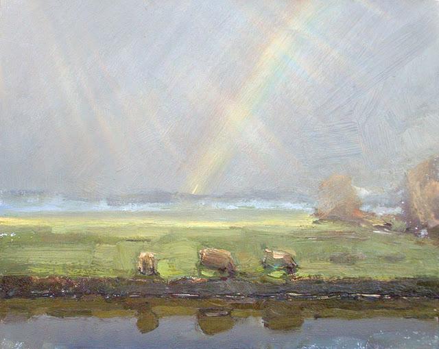 Rainy day dutch atmosphere - Dutch landscape autumn #17 original fine art by Roos Schuring