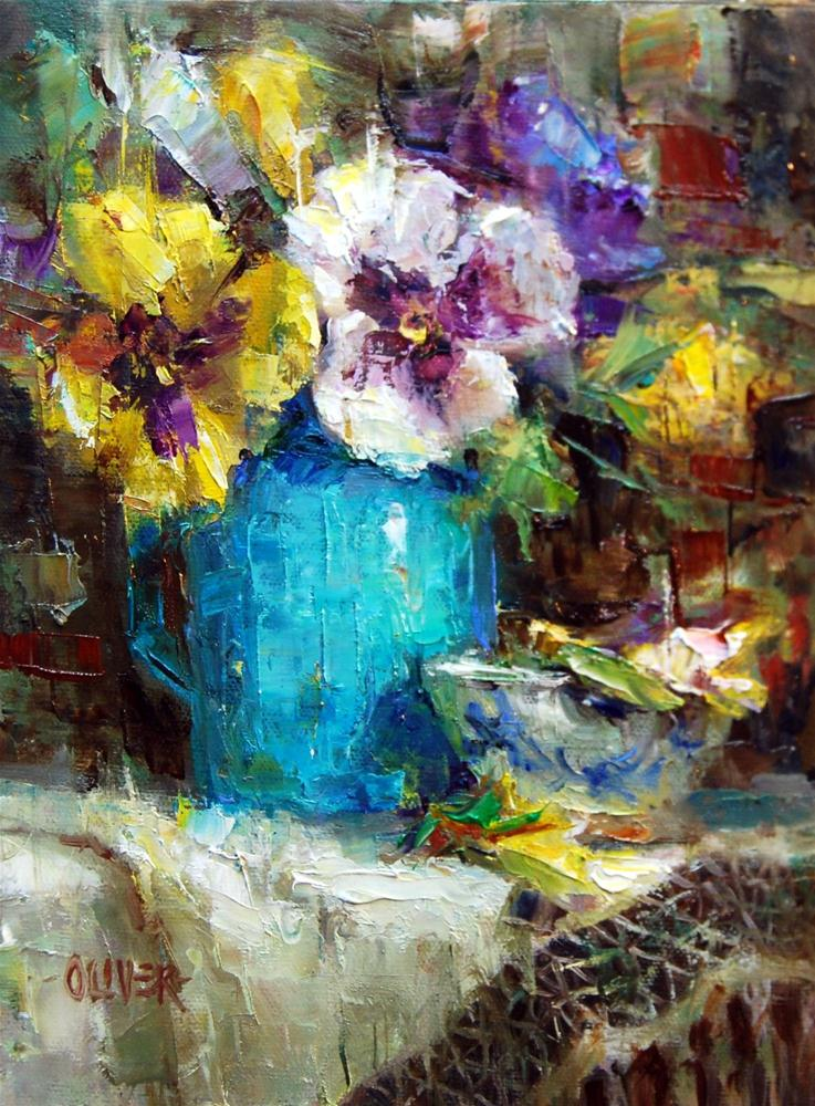 """Turquoise and Pansies"" original fine art by Julie Ford Oliver"