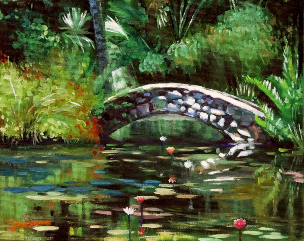"""Waterlily Pond with Little Stone Bridge"" original fine art by Joanna Bingham"
