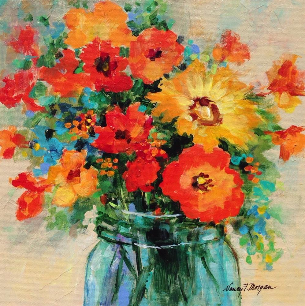 """Midsummer Bouquet"" original fine art by Nancy F. Morgan"