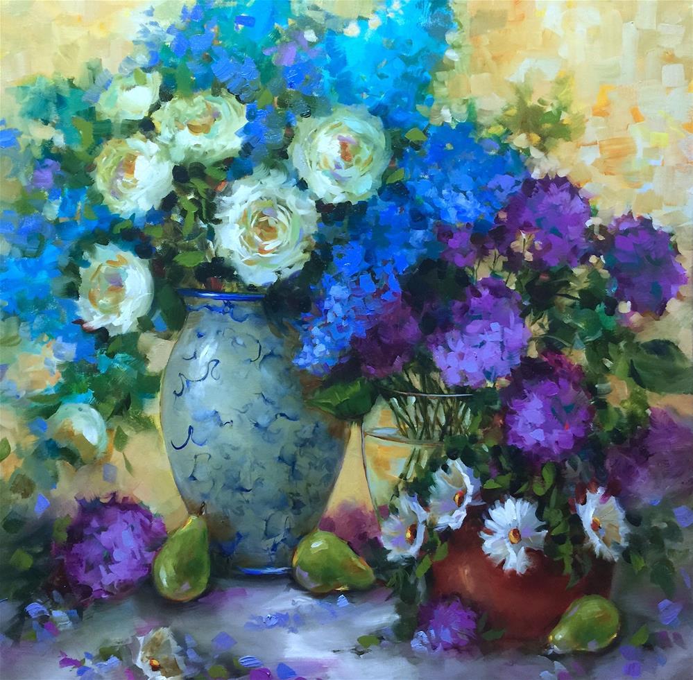 """Wild Garden Roses ~ Nancy Medina Art Videos and Classes"" original fine art by Nancy Medina"