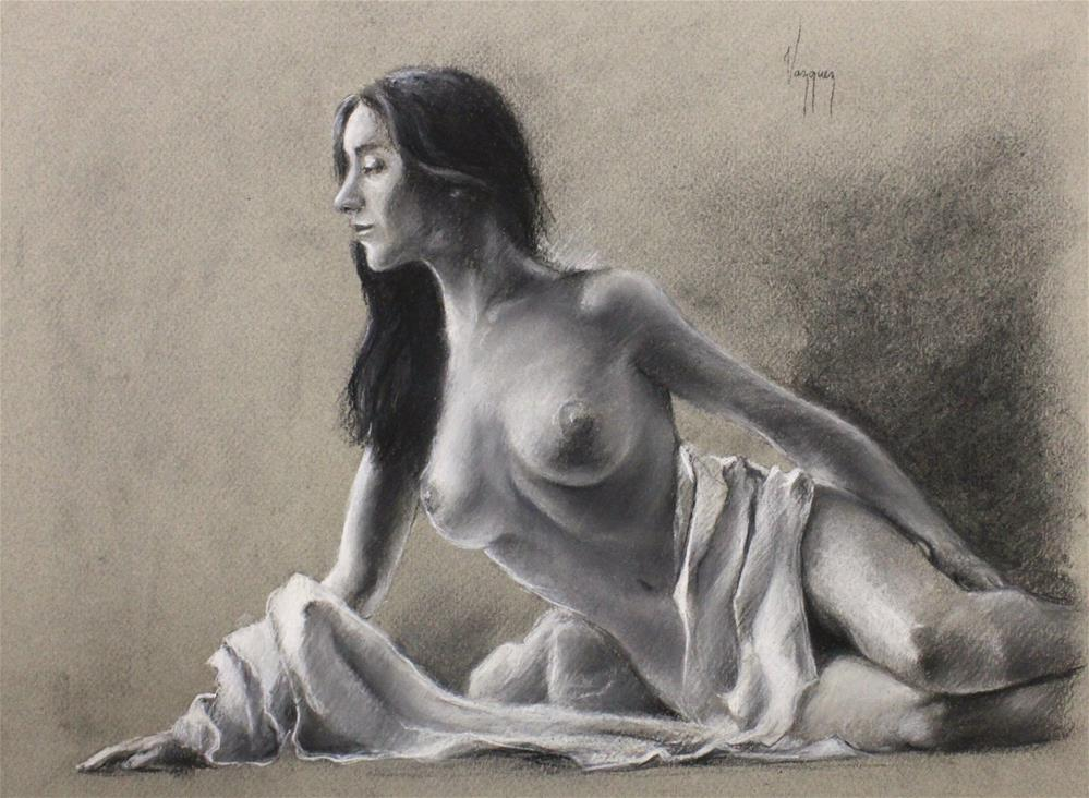 """nude study in charcoal (reclined)"" original fine art by Marco Vazquez"