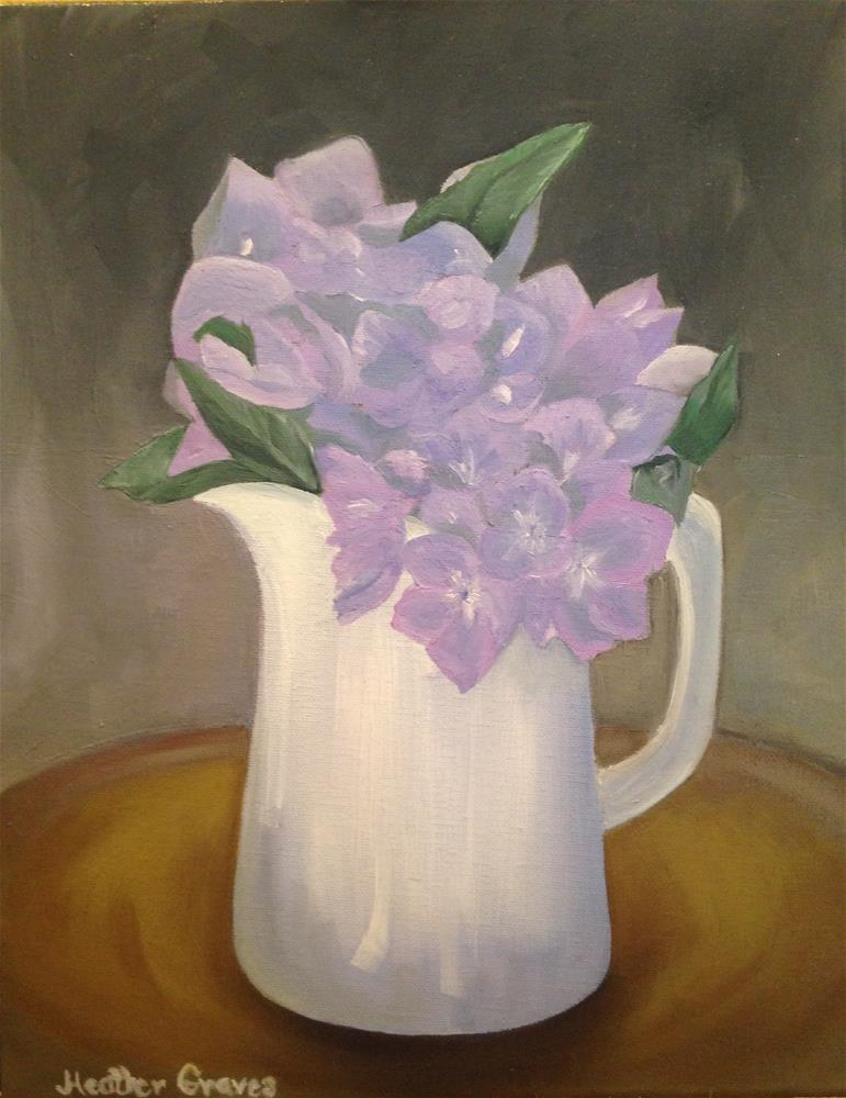 """Hydrangeas in White Pitcher"" original fine art by J H Graves"